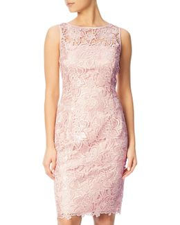 Sequin Guipure Lace Sheath Dress