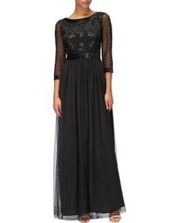 Three Quarter Sleeve Beaded Bodice Gown