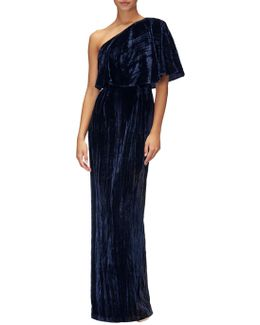 Velvet One Shoulder Long Dress