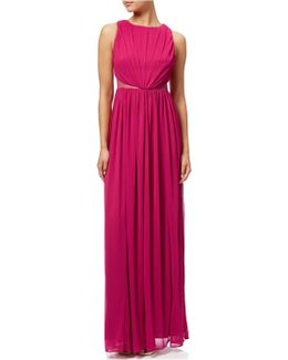 Ruched Halter Neck Gown
