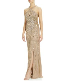 Halter Gown With Keyhole Detail