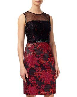 Lace Top Embellished Jacquard Sheath Dress