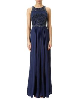 Halter Neck Chiffon Beaded Bodice Gown