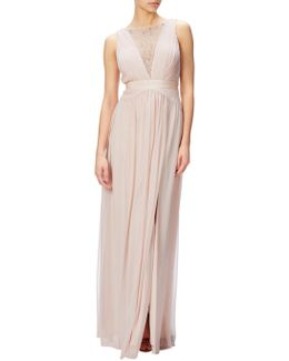Sleeveless Lace Stretch Tulle Gown