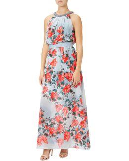 Embellished Halter Neck Floral Maxi Dress