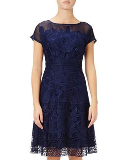 Cap Sleeve Fit And Flare Lace Dress