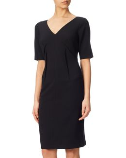 Stretch Crepe Darted Shift Dress