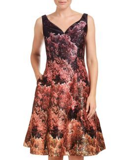 Printed Mikado Tea Length Dress