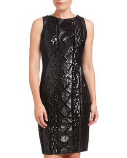 Sleeveless Cable Sequin Cocktail Dress