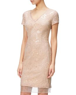 Sequin Lace And Organza Cap Sleeve Cocktail Dress