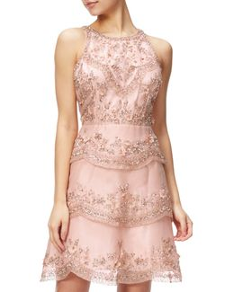 Halterneck Beaded Cocktail Dress