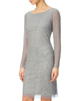 Long Sleeve Beaded Cocktail Dress