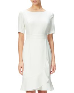 Crepe Sheath Dress With Flounce Wrap Detail
