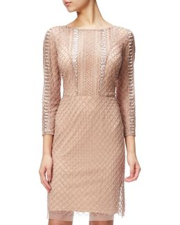 Beaded Three-quarter Sleeve Cocktail Dress
