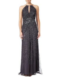 Halterneck Fully Beaded Gown