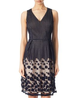 Pleated Plaid Dot Fit And Flare Dress