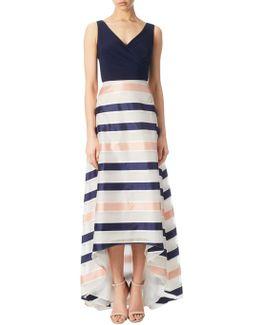 Jersey Organza Stripe High-low Dress