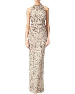 Halterneck Beaded Gown