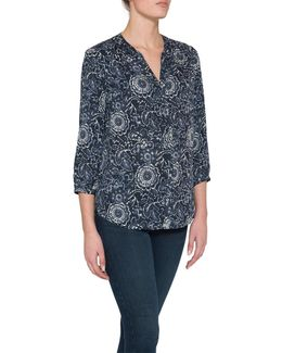 Pintuck Pleat Back Floral Print Blouse