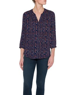 Pintuck Pleat Back Geometric Print Blouse