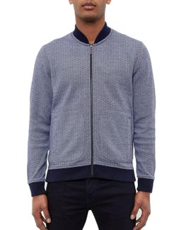 Gonow Ribbed Detail Cotton Jersey Bomber Jacket