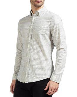 Dobby Yarn-dyed Stripe Slim Shirt