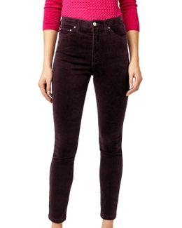 High Rise Velvet Skinny Jeans