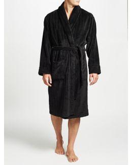 Embossed Stripe Fleece Robe