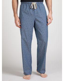Palm Print Chambray Lounge Pants