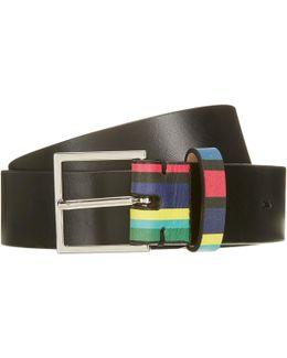 Cycle Stripe Keeper Leather Belt