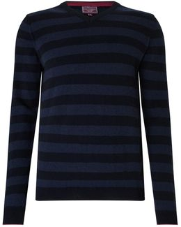 Italian Cashmere Stripe V-neck Jumper