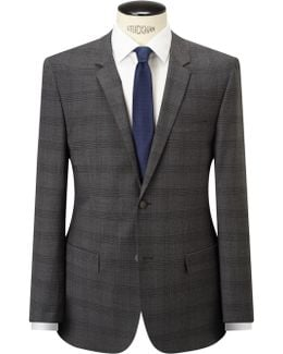 Check Wool Tailored Suit Jacket