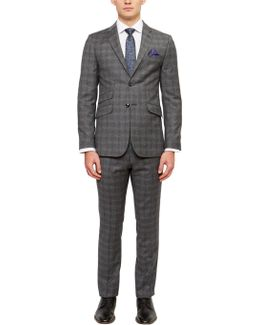 Pidginj Wool Check Tailored Suit Jacket