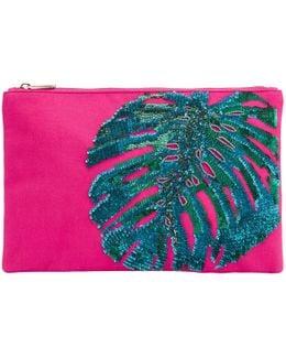 Leaf Zip Top Clutch Bag