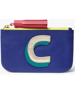 'c' Initial Coin Leather Purse