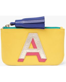 'a' Initial Leather Coin Purse