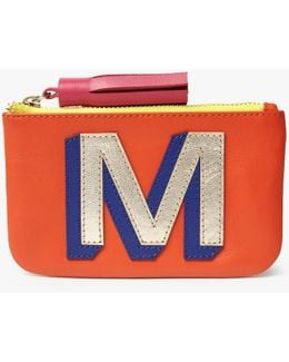 'm' Initial Leather Coin Purse