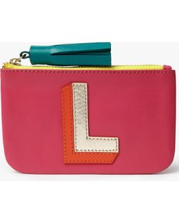 'l' Initial Leather Coin Purse
