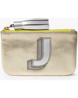 'j' Initial Leather Coin Purse