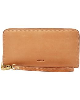 Emma Leather Large Rfid Zip Clutch Purse