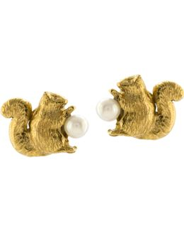 Squirrel Freshwater Pearl Stud Earrings