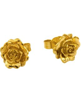 Rosa Damascena Flower Stud Earrings