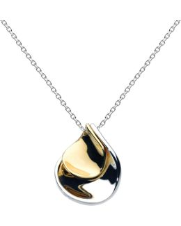 Double Petal Sterling Silver 18ct Gold Plated Pendant