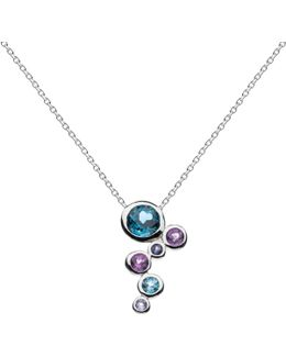 Sterling Silver Cascade Topaz Amethyst Pendant Necklace