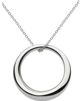Sterling Silver Bevel Curve Ring Pendant Necklace