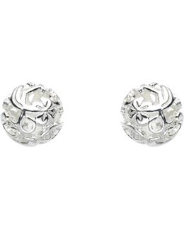 Sterling Silver Carved Ball Stud Earrings