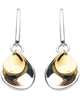 Double Petal Sterling Silver 18Ct Gold Plated Drop Earrings