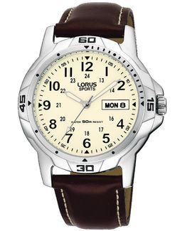 Rxn49bx9 Men's Sports Day Date Leather Strap Watch