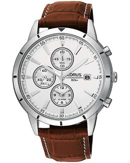 Rf325bx9 Men's Chronograph Date Leather Strap Watch