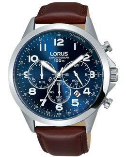 Rt379fx9 Men's Chronograph Date Leather Strap Watch